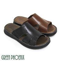 GREEN PHOENIX 內斂休閒鏤空縫線沾黏式全真皮平底拖鞋 #40 男鞋 #41 #