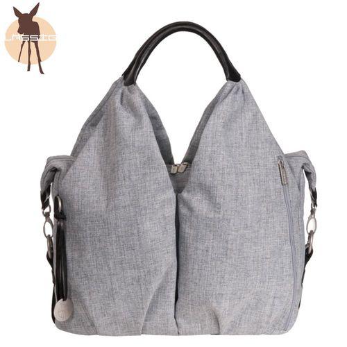 德國Lassig-時尚單寧托特媽媽包-刷色灰