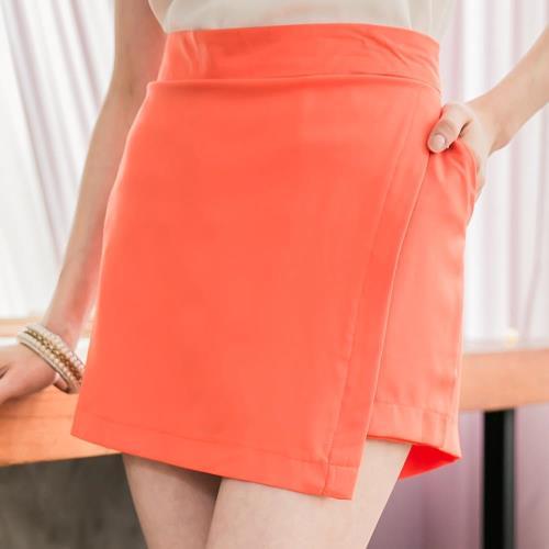 lingling中大尺碼 前接片類短裙短褲(氣質桔)A2789-04