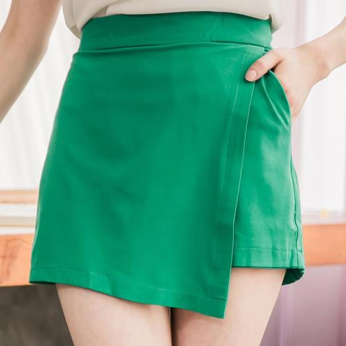 lingling中大尺碼 前接片類短裙短褲(時尚綠)A2789-03