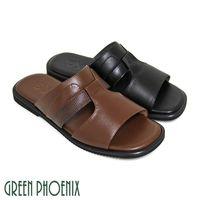 GREEN PHOENIX 簡約鏤空皮革壓紋全真皮平底男拖鞋 #40 男鞋 #41 #45