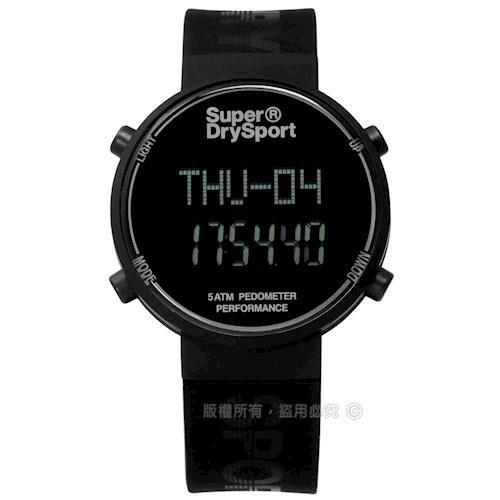 Superdry 極度乾燥 / SYG203BB / 休閒時尚電子計步器卡路里矽膠手錶 黑色 40mm