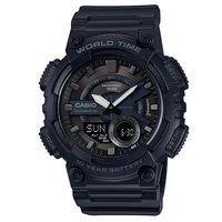 【CASIO】世界時間雙顯錶-黑X古銅刻度 AEQ-110W-1B