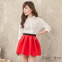 Candy小舖 彈性太空棉短裙 ~ 紅色