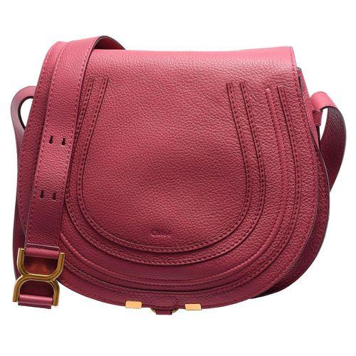 CHLOE Marcie Crossbody Bag小牛皮斜背馬鞍包(中-紫紅)