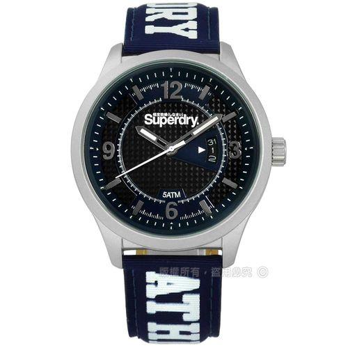 Superdry 極度乾燥 / SYG171UW / 時尚都會紳士菱格尼龍手錶 黑x藍 45mm