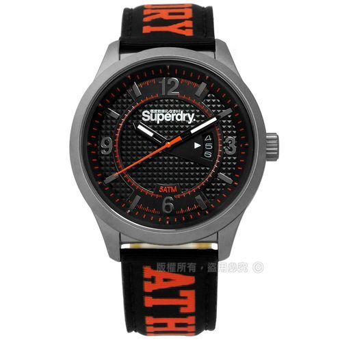Superdry 極度乾燥 / SYG171BO / 時尚都會紳士菱格尼龍手錶 黑x橘 45mm
