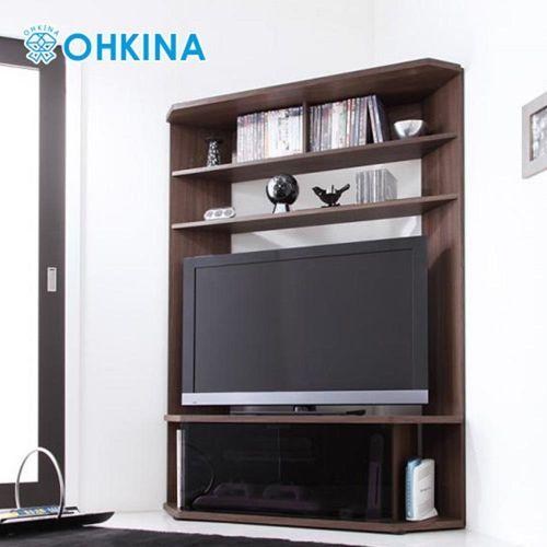 OHKINA 日系薄型時尚角落收納電視櫃(棕色)