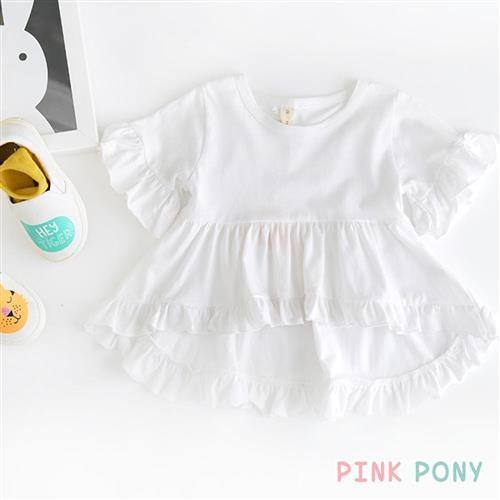 PINKPONY-前短後長荷葉花邊純色長版裙衫-白色