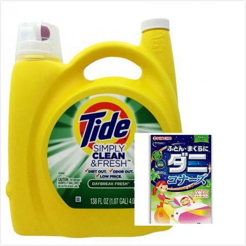 【美國 Tide】濃縮洗衣膏-清新柑橘(138oz/4080ml*1)+日本原裝進口KINCHO棉被枕頭用驅蟎消臭片(2個入)*2