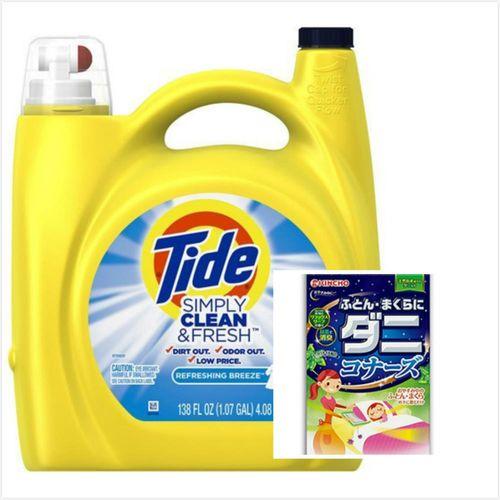 【美國 Tide】濃縮洗衣膏-清新微風(138oz/4080ml*1)+日本原裝進口KINCHO棉被枕頭用驅蟎消臭片(2個入)*2