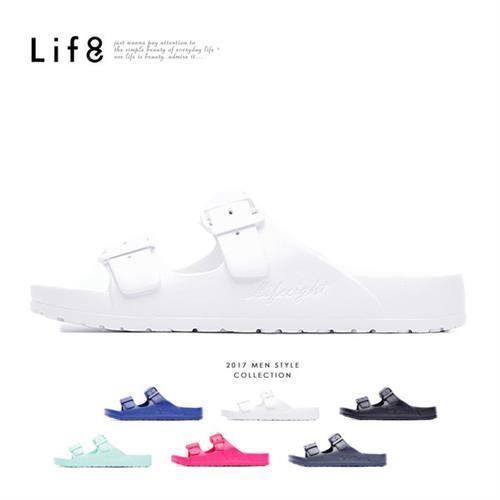 Life8-Casual 馬卡龍系列 品牌漂浮涼拖鞋-09634-白色