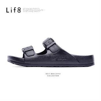 Life8-Casual 馬卡龍系列 品牌漂浮涼拖鞋-09634-黑色