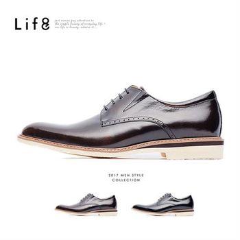 Life8-Formal 摔花牛皮 休閒德比皮鞋-09586-古銅