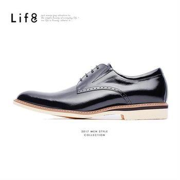 Life8-Formal 摔花牛皮 休閒德比皮鞋-09586-黑色