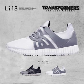 Life8-變形金剛 金屬網布 射出片 3D彈簧運動鞋-09649-白色