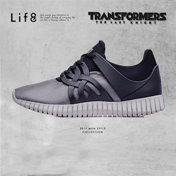 Life8-變形金剛 金屬網布 射出片 3D彈簧運動鞋-09649-黑色
