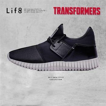 Life8-變形金剛 雙色金屬網布 後套片3D彈簧運動鞋-09642-黑色