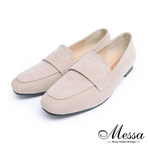 Messa米莎專櫃女鞋- MIT低調簡約絨面方頭內真皮平底包鞋-二色