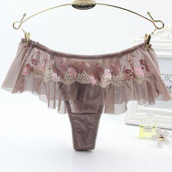 【華歌爾】古典玫瑰園M-L性感丁字褲(可可咖)
