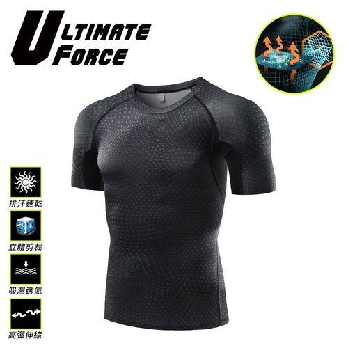 Ultimate Force「特勤」男子強力伸縮型短袖T恤-黑