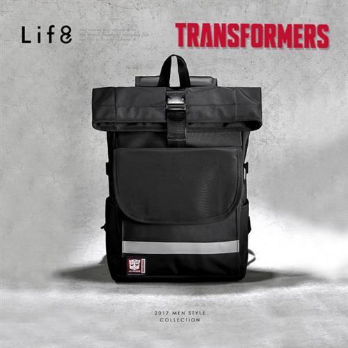 Life8-變形金剛 防滲透反光 休閒後背包-06374-黑色