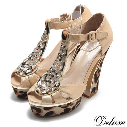 【Deluxe】全真皮時尚兔毛豹紋水鑽魚口涼跟鞋(金)