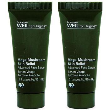 ORIGINS品木宣言 Dr. WEIL青春無敵精華液15ml條裝版x2入組+化妝棉90片(綠)