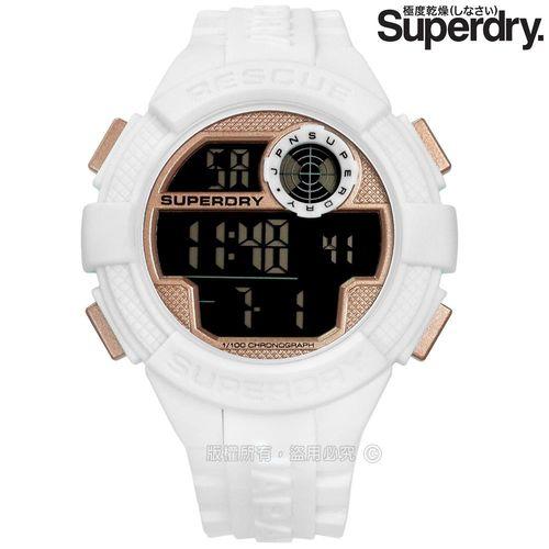 Superdry 極度乾燥 / SYG193WRG / 計時鬧鈴電子運動立體矽膠手錶 玫瑰金x白 51mm