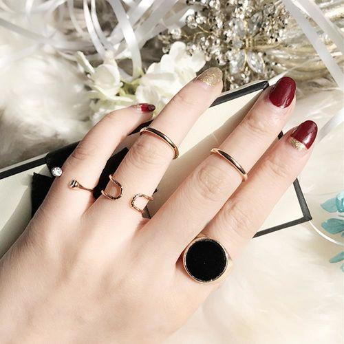 ArFFi 艾菲 韓系簡約黑圓石淺金開口戒指組-五入