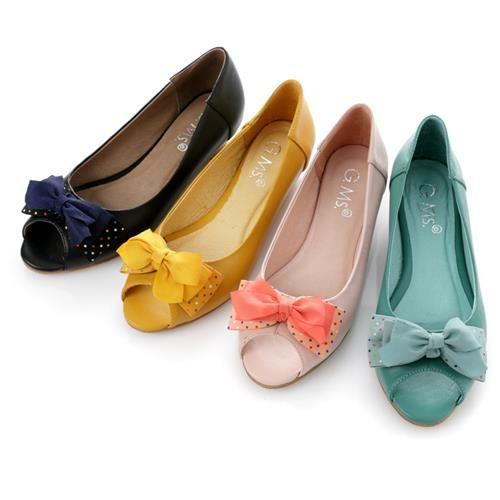 G.Ms. 魚口雪紡紗水玉雙層蝴蝶結小坡跟鞋-三色
