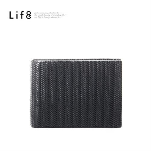 Life8-Formal 麻花紋 真皮短夾-06391-黑色