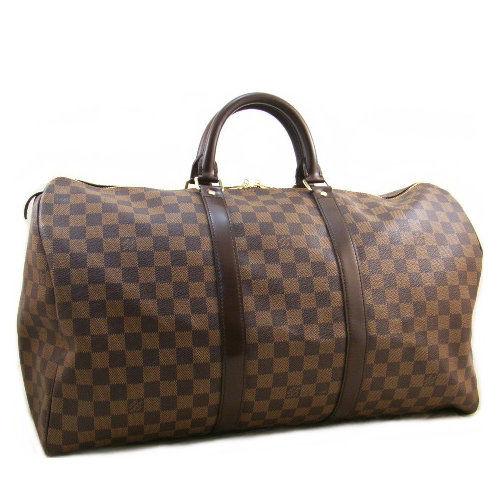 【LV】N41427 Keepall 50 咖棋盤格紋手提旅行袋(預購)