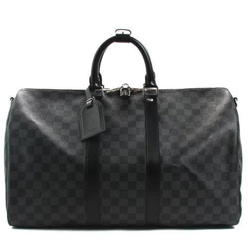 【LV】N41418 Keepall Bandouliere 45 黑棋盤手提旅行袋.附背帶(預購)