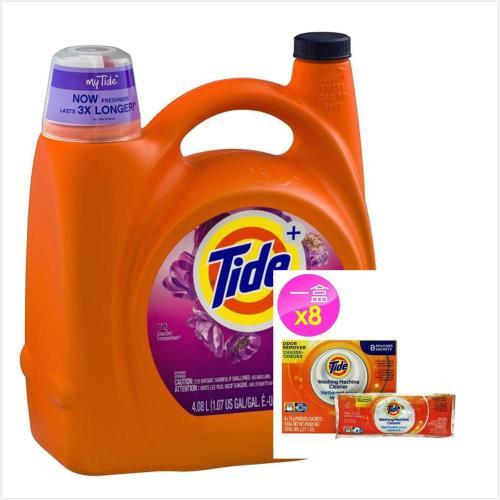 美國 Tide濃縮洗衣膏-春天花香(138oz/4080ml)*1+洗衣槽洗潔劑(75g*8包)