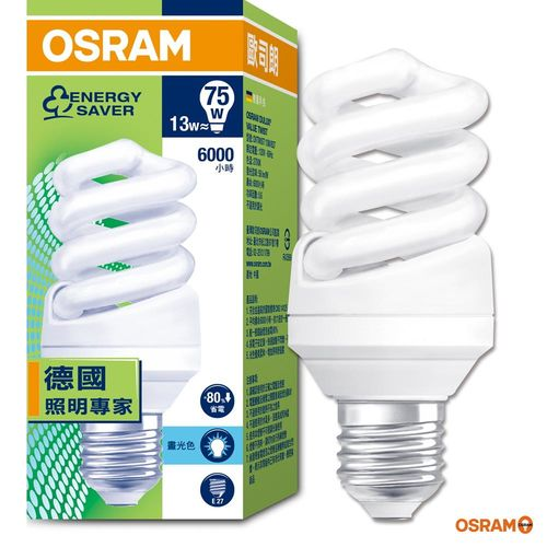 歐司朗 OSRAM 13W 螺旋省電燈泡-4入組