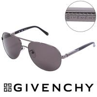 GIVENCHY 法國魅力紀梵希藝術幾何格紋美型 飛行員太陽眼鏡 黑  GISGV4565