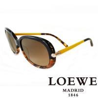 LOEWE 西班牙皇室品牌羅威 皮革大理石面太陽眼鏡 ~  琥珀  SLW803~0905