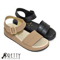 Pretty 簡約寬版沾黏式厚底涼鞋 ^#45 粉紅色、黑色