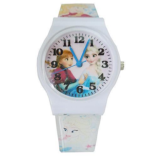 【迪士尼】FROZEN冰雪奇緣膠帶兒童錶卡通錶-艾莎安娜(白)