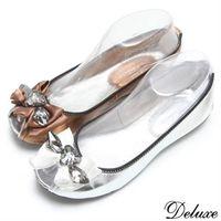 ~Deluxe~全真皮典雅緞帶水鑽魚口包鞋 ^#40 銀 ^#45 銅 ^#41