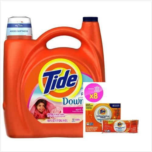 New!【美國 Tide】濃縮洗衣膏-原味添加柔軟劑(138oz/4080ml)*1+洗衣槽洗潔劑(75g*8包)