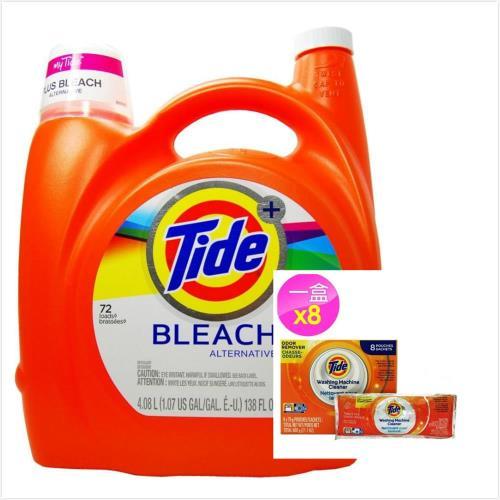 New!【美國 Tide】濃縮洗衣膏-原味+漂白(138oz/4080ml)*1+洗衣槽洗潔劑(75g*8包)