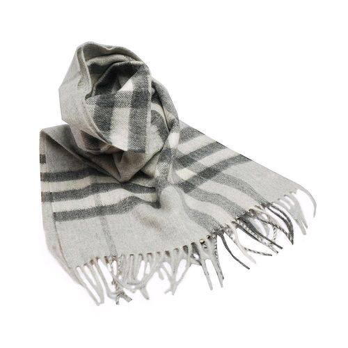 BURBERRY 經典大格紋喀什米爾羊毛圍巾(168CM-淺灰)
