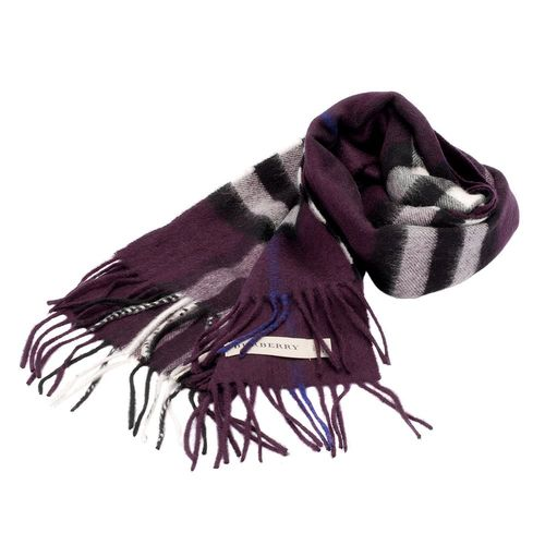 BURBERRY 經典大格紋喀什米爾羊毛圍巾(168CM-深黑醋栗色)