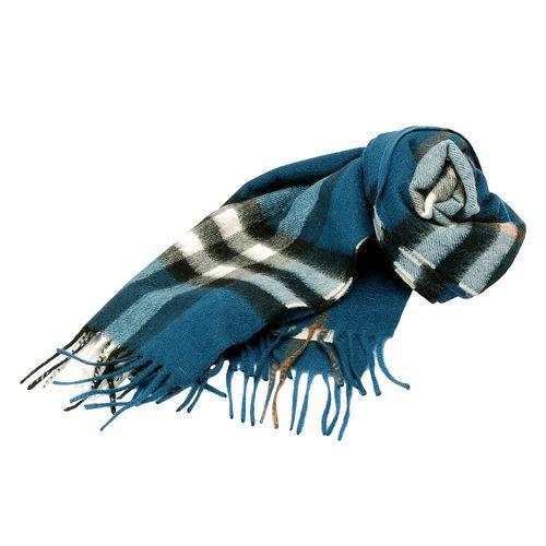 BURBERRY 經典大格紋喀什米爾羊毛圍巾(168CM-深鴨水藍)