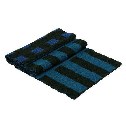 BURBERRY 編織格紋設計喀什米爾羊毛雙色毛毯披肩(165cm-亮海軍藍)