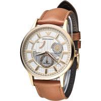 ARMANI 時空旅人自動機械男錶~玫瑰金框 褐 AR4662