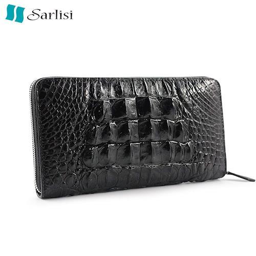 夏麗絲Sarlisi 美洲鱷魚皮長夾羊皮內裏手拿包-黑色