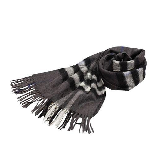 BURBERRY 經典大格紋喀什米爾羊毛圍巾(168CM-藍灰色)